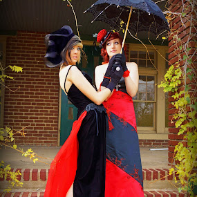 Fancy Duds by Teresa Delcambre - People Fashion ( girls, fashion, goth, umbrella, gowns, victorian, gloves, teens, porch, hat )