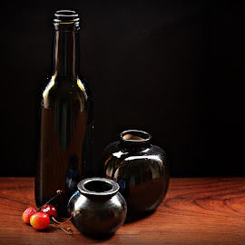 still life by Prasanta Das - Artistic Objects Still Life ( still life, cherries, bottle, pots )