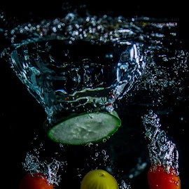 All in Water by Adriano Freire - Food & Drink Fruits & Vegetables ( water, fruit, tomato, splash, vegetables )