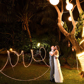Love by Sparkler by Andrew Morgan - Wedding Bride & Groom ( love, kiss, zanzibar, wedding, lightpainting, painting )