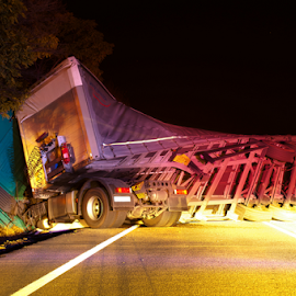 Overturned truck in crash by Deyan Georgiev - Transportation Automobiles ( damaged, car, insurance, trailer, accident, highway, truck, vehicle, street, rescue, destruction, calamity, emergency, transportation, road, risk, danger, over, turned, transport, trailed, fallen, rollover, crash, crashed, overturned, overturning, truck tires, rolled, speed, death, wreck, headlight, tipped, smash, dangerous, tire, pass, failure, injured, traffic, hurt, fatality, auto, night, down, nelspruit )