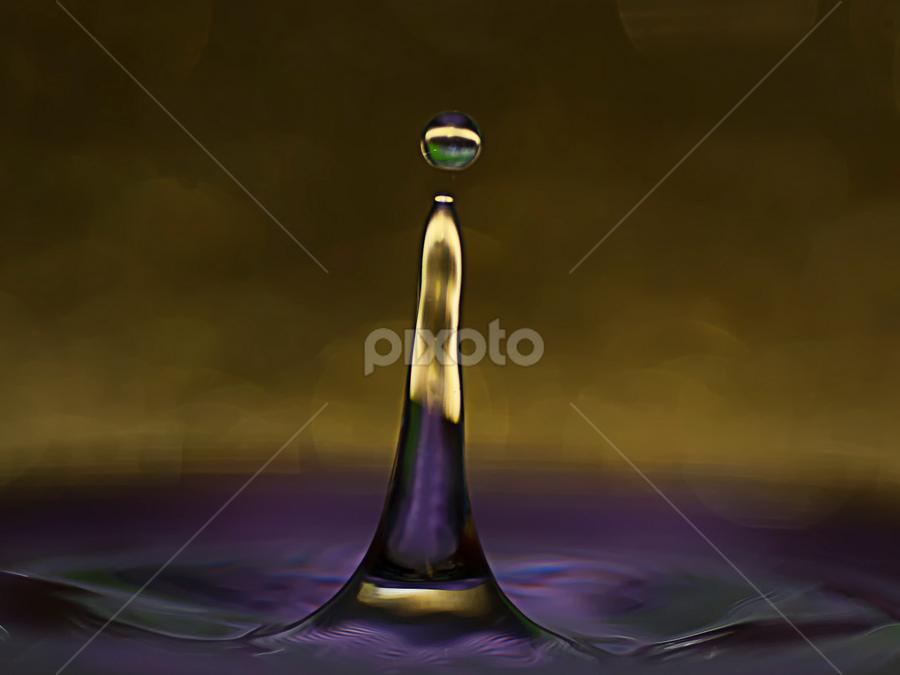 purple & yellow by Hale Yeşiloğlu - Abstract Water Drops & Splashes ( water drops, purple, splash, drop, liquid art, drops, liqud )