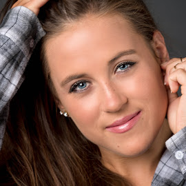Hallie by Bob Grandpre - People Portraits of Women ( plaid, woman, blue eyes, portrait, eyes )
