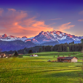Sunset In The Alps by Elk Baiter - Landscapes Mountains & Hills ( mountains, alps, germany, sunset, austria )