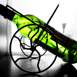Bottle by Varok Saurfang - Food & Drink Alcohol & Drinks ( wine, backlit, wheel, green, ornament, bottle )