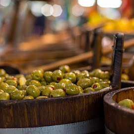 olives by Andy Zhang - Food & Drink Fruits & Vegetables ( market, wood, food, bucket, vegetable, olives )