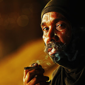 smoker  at  rice factory  by Khairur Rijal Pauzi - People Portraits of Men ( potret, candid, smoker canon, people, human )
