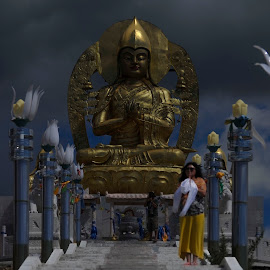 Buddha by Tsatsralt Erdenebileg - Digital Art People ( buddhism, dark, buddhist, dark background, buddha )