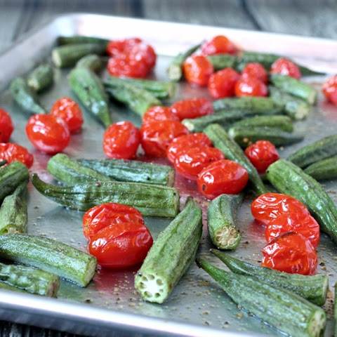 Whole Roasted Okra And Tomatoes