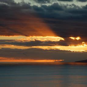sunset - power of light by Emilie Robert - Landscapes Sunsets & Sunrises ( reflection, divine, twilight, romantic, sea, rays, sun, presence, blue, sunset, zen, power, grey, light )