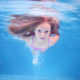 Underwater fun by Phillip Van Zyl - Babies & Children Child Portraits ( swimsuit, blue, underwater, pink, fun, swimming )