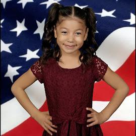 Proud by David Salmon - Babies & Children Child Portraits ( child, girl, flag, dress, american flag )