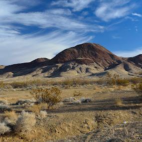Red mountain by Mariusz Murawski - Landscapes Deserts ( hill, blue sky, sky, desert, mountain, bush, dirt, rocks )