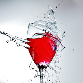 Wine glass splash by Peter Salmon - Artistic Objects Glass ( clear, water, red, splash, glass )