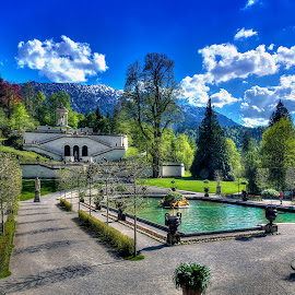 Linderhof Fountain and Music Pavilion by Elk Baiter - City,  Street & Park  Fountains ( fountain, linderhof palace, alps, bavaria, baroque, germany, garden )