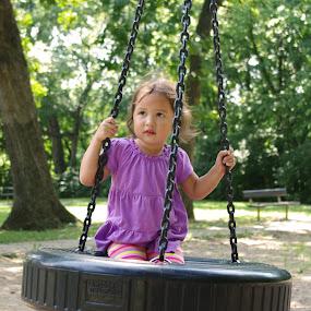 Tire Swing Fun by M.H. O'Dell - Babies & Children Children Candids