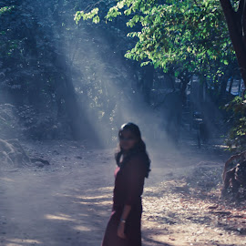 Nature Girl by Prathmesh Bhurke - People Street & Candids ( wild, red, girl, pathway, nature, beautiful, path, sunrays, gown, beauty, nikon, light, sun )