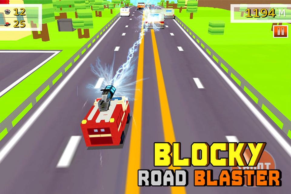 Blocky Road Blaster -Wild Race Screenshot 0