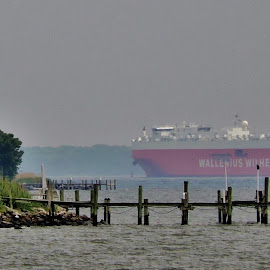 Freighter by Mary Gallo - Transportation Boats