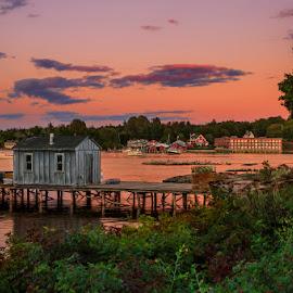 Bass Harbor Sunset by Ann J. Sagel - Landscapes Sunsets & Sunrises ( water, bass harbor, maine, landscape, ann sagel )