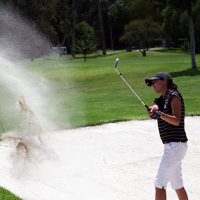 Bunker explosion by Cristobal Garciaferro Rubio - Sports & Fitness Golf ( bunker, explosion, lady, golf, bunker shot )