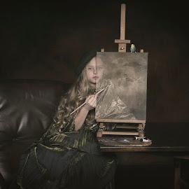 Painting Myself by Carola Kayen-mouthaan - Babies & Children Child Portraits ( bird, child, girl, fine art, portrait )