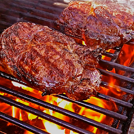 { Grilled Ribeye Steaks ~ Back yard Barb ~ B ~ Qs 2 July }  by Jeffrey Lee - Food & Drink Meats & Cheeses ( { grilled ribeye steaks ~ back yard barb ~ b ~ qs 2 july } )