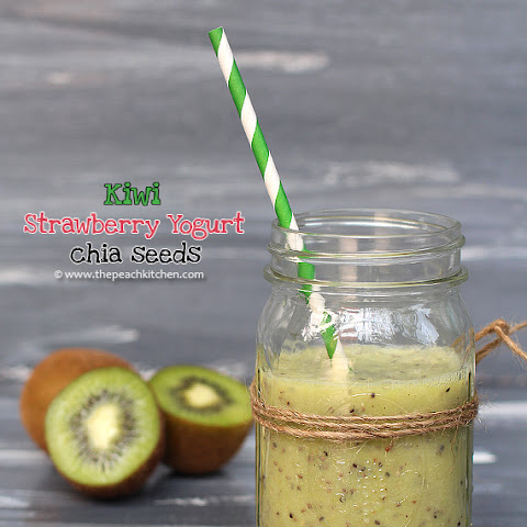 Kiwi, Strawberry Yogurt and Chia Seeds Smoothie