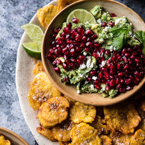 Pomegranate Guacamole with Fried Plantain Chips.