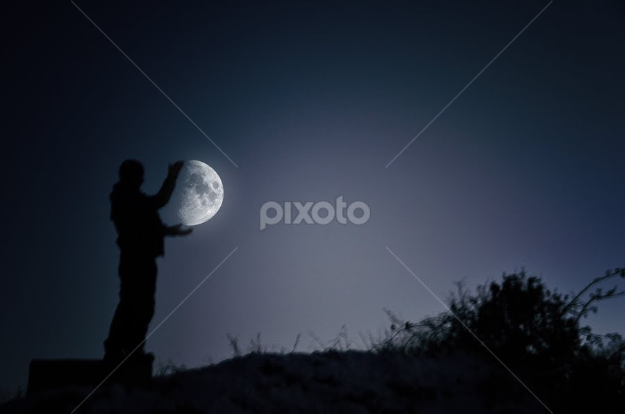 Im gonna catch the Moon by Adrian  Limani - Digital Art People ( moon, people, man )