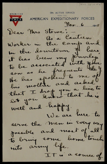 On November 4, 1918, Helen Belknap, a volunteer working in a YMCA canteen in Paris, wrote to the mother of a soldier who had visited the American-run relief center.
