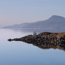 A New Morning by Susan Ward - Landscapes Waterscapes ( boats, sea, reflections, orcas island, island )