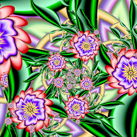 Woodpecker's Garden by Peggi Wolfe - Illustration Abstract & Patterns ( abstract, wolfepaw, gift, unique, bright, illustration, fun, digital, print, decor, pattern, color, unusual, woodpecker, fractal, garden, flower )