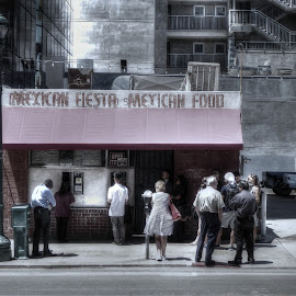 Mexican Food Stand by John Mattingly - City,  Street & Park  Neighborhoods ( people and buildings, city scene, street  scene, food stand, people )