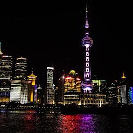 Shanghai Night by Joan Sharp - City,  Street & Park  Night ( water, reflection, black backdrop, city lights, night )