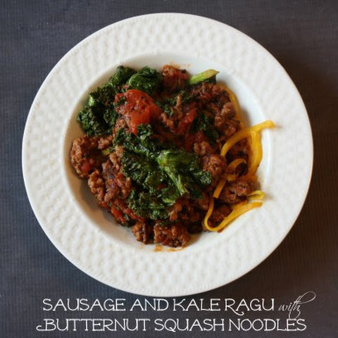 Sausage and Kale Ragu with Butternut Squash Noodles