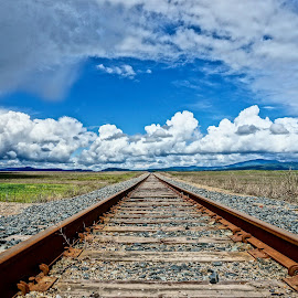 Going Anywhere by Barbara Brock - Transportation Railway Tracks ( cloudy sky, train tracks, railroad tracks, down low on train tracks, empty train tracks )