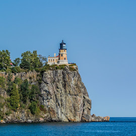 Split Rock Lighthouse by Darrin Ralph - Buildings & Architecture Public & Historical ( cliffs, blue, cliff, lighthouse, lake, lake superior )