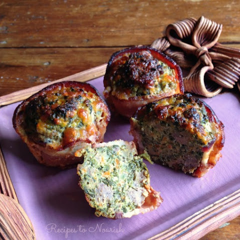 Bacon-Wrapped Spinach + Cheese Stuffed Mini Meatloaves