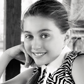 Perfectly Poised Young Lady B&W by Cheryl Korotky - Black & White Portraits & People