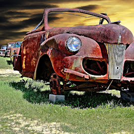 Defying Gravity by JEFFREY LORBER - Transportation Automobiles ( jeffrey lorber, rust, rust 'n chrome, vintage car, rusted car, lorberphoto, old car, abandoned car )