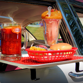 A&W Display On Ford Crowne Victoria by Becky Luschei - Food & Drink Meats & Cheeses ( burger, fries, driver's side door, shake, a&w dispaly, '55 ford crowne victoria, root beer )