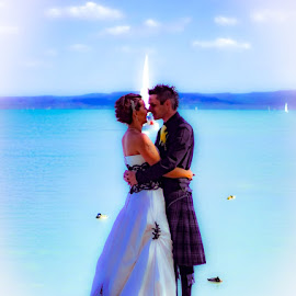 The kiss by Tamas Filep (ArtoFTom) - Wedding Other ( kiss, wedding, lake, couple, artoftom,  )