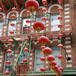 China Town by Sharon Tyler - City,  Street & Park  Street Scenes ( #red #city #street #china #lanterns )