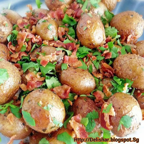 Bacon, Onion, and Herb Roasted Baby Potatoes