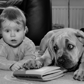 Reading together? by Veauteaux NV - Babies & Children Child Portraits ( reading, best friends, friends, naughty, baby and puppy, kids and animals, book, guilty, child portrait, puppy, cane corso, kinderen, surprised, kinderen en dieren )
