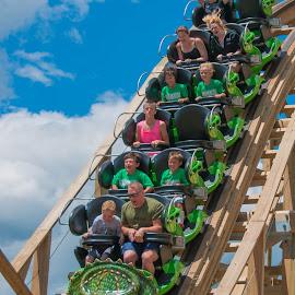 first drop thrills by Michael Graham - City,  Street & Park  Amusement Parks ( wooden roller coaster, story land, amusement park, dinosaur, amusement ride, theme park, roller coaster, new hampshire,  )