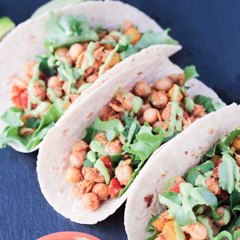Bell Pepper & Chickpea Tacos w/ Avocado Green Chile Sauce