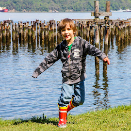 Playing on the Waterfront by Shari Linger - Babies & Children Children Candids ( child playing, tacoma, children candids, fun, kids, waterfront )