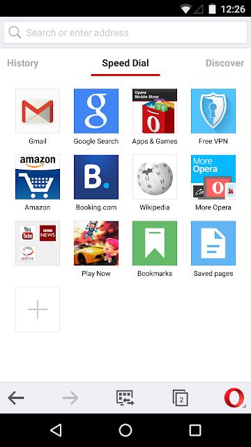 Opera browser screenshots
